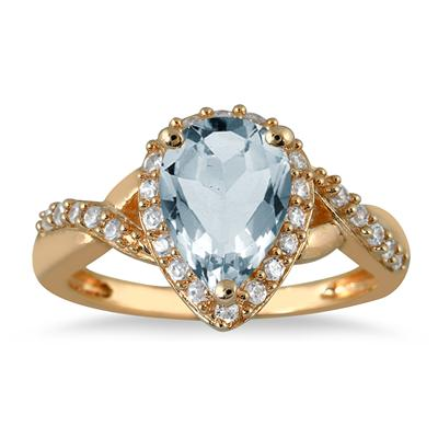 1.50 Carat Pear Shape Aquamarine and Diamond Ring in 10K Yellow Gold