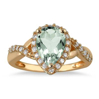 1 1/2 Carat Pear Shape Green Amethyst and Diamond Ring in 10K Yellow Gold