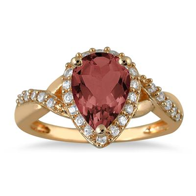 1.50  Carat Pear Shape Garnet and Diamond Ring in 10K Yellow Gold