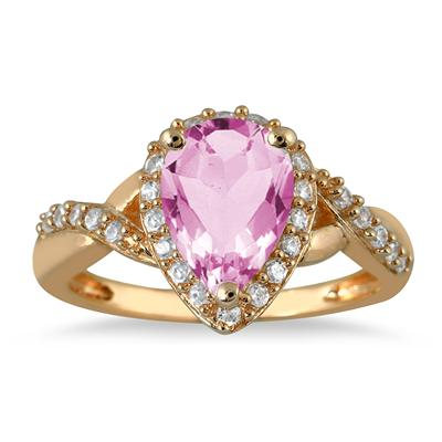 1 1/2 Carat Pear Shape Pink Topaz and Diamond Ring in 10K Yellow Gold