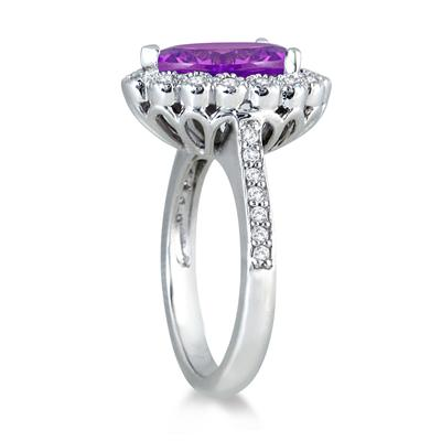 5.00 Carat Pear Shape Amethyst and Diamond Ring in 14K White Gold
