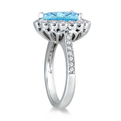 5.00 Carat Pear Shape Blue Topaz and Diamond Ring in 14K White Gold