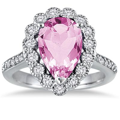 5 Carat Pear Shape Pink Topaz and Diamond Ring in 14K White Gold