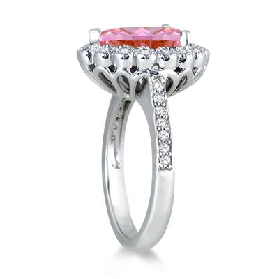 5.00 Carat Pear Shape Pink Topaz and Diamond Ring in 14K White Gold