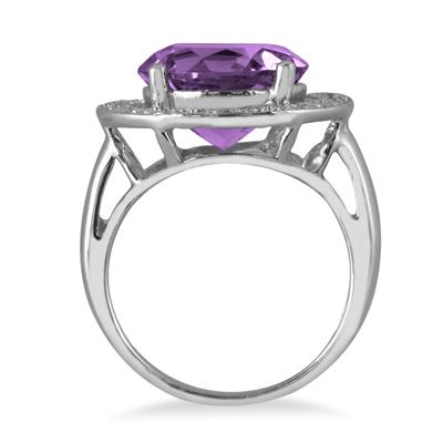 5.50 Carat Round Amethyst and Diamond Ring in .925 Sterling Silver