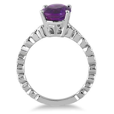 2.40 Carat Oval Amethyst and Diamond Ring in 14K White Gold