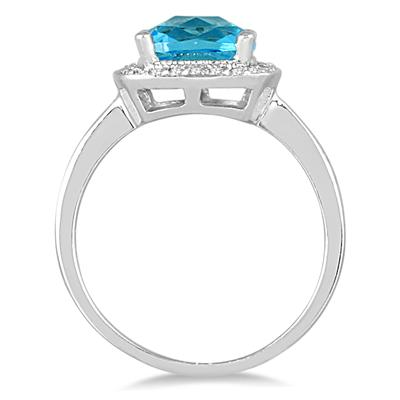 1.70 Carat Cushion Cut Blue Topaz and Diamond Ring in 14K White Gold