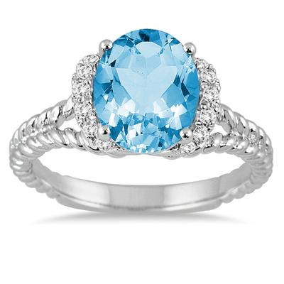 2.25 Carat Oval Blue Topaz and Diamond Ring in 14K White Gold