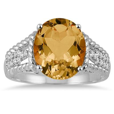 4.20 Carat Oval Shape Citrine and Diamond Ring in 14K White Gold