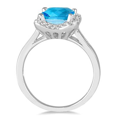 2.00 Carat Cushion Cut Blue Topaz and Diamond Ring in 14K White Gold