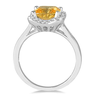 2.00 Carat Cushion Cut Citrine and Diamond Ring in 14K White Gold