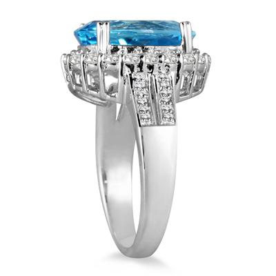 8.80 Carat Topaz and Diamond Ring in .925 Sterling Silver