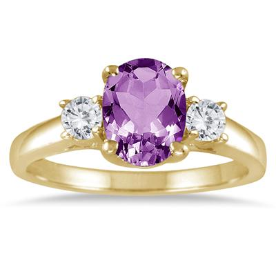 1.75 Carat Amethyst and Diamond Three Stone Ring 14K Yellow Gold