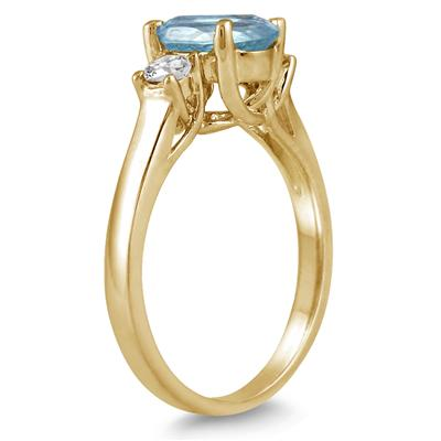 1.75 Carat Aquamarine and Diamond Three Stone Ring 14K Yellow Gold