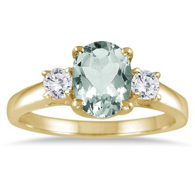1.75 Carat Green Amethyst and Diamond Three Stone Ring 14K Yellow Gold