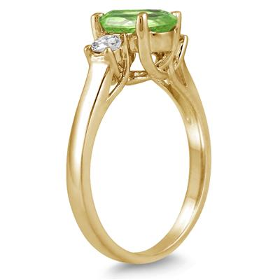 1.75 Carat Peridot and Diamond Three Stone Ring 14K Yellow Gold