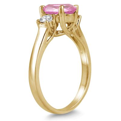 1.75 Carat Pink Topaz and Diamond Three Stone Ring 14K Yellow Gold