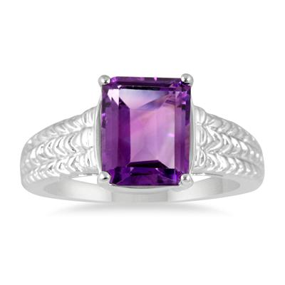 3.00 Carat Emerald Cut Amethyst Ring in .925 Sterling Silver