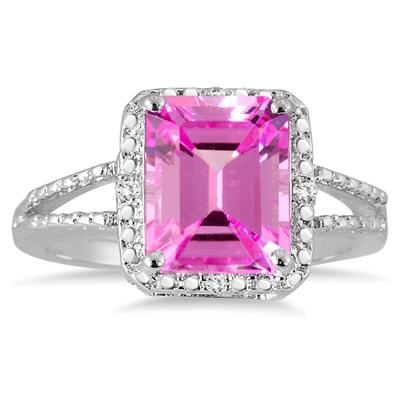 4.50 Carat Emerald Cut Pink Topaz and Diamond Ring in .925 Sterling Silver