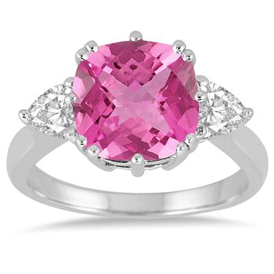 Cushion Cut Lab Created Pink Sapphire and White Sapphire Ring in .925 Sterling Silver
