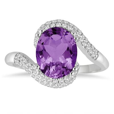 2.50 Carat Oval Shaped Amethyst and Diamond Curve Ring in 10K White Gold
