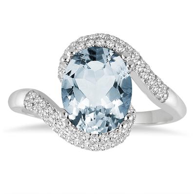 2.50 Carat Oval Shaped Aquamarine and Diamond Curve Ring in 10K White Gold