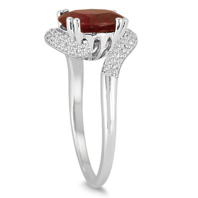 2.50 Carat Oval Shaped Garnet and Diamond Curve Ring in 10K White Gold