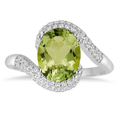 2 1/2 Carat Oval Shaped Peridot and Diamond Curve Ring in 10K White Gold