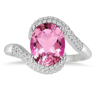 2.50 Carat Oval Shaped Pink Topaz and Diamond Curve Ring in 10K White Gold
