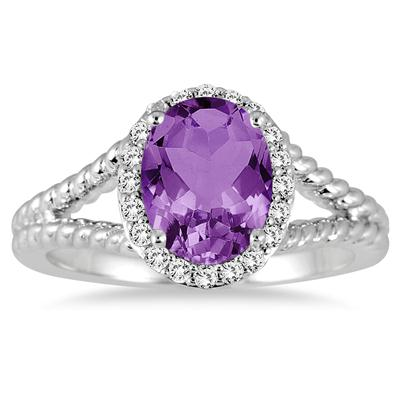 2 Carat Amethyst and Diamond Ring in 10K White Gold