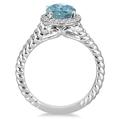 2 Carat Aquamarine and Diamond Ring in 10K White Gold