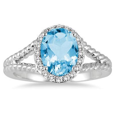 2 Carat Blue Topaz and Diamond Ring in 10K White Gold