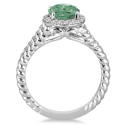 2 Carat Green Amethyst and Diamond Ring in 10K White Gold