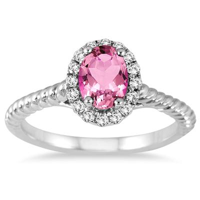 1.00 Carat Pink Topaz and Diamond Halo Rope Ring in 10K White Gold