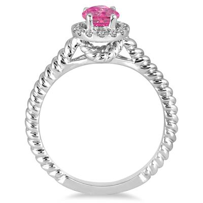 1 Carat Pink Topaz and Diamond Halo Rope Ring in 10K White Gold