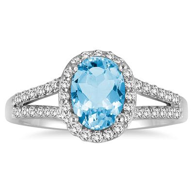 1.25 Carat Oval Blue Topaz and Diamond Ring in 10K White Gold