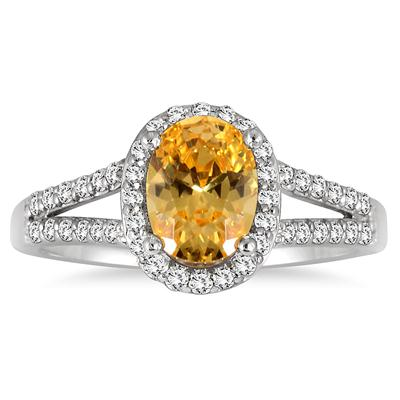 1 1/4 Carat Oval Citrine and Diamond Ring in 10K White Gold