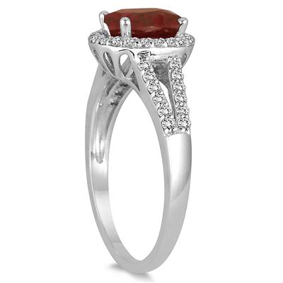 1.25 Carat Oval Garnet and Diamond Ring in 10K White Gold