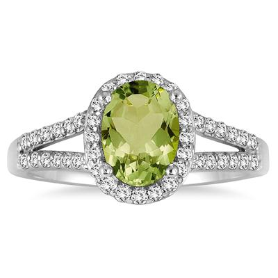 1.25 Carat Oval Peridot and Diamond Ring in 10K White Gold