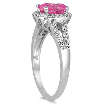 1.25 Carat Oval Pink Topaz and Diamond Ring in 10K White Gold