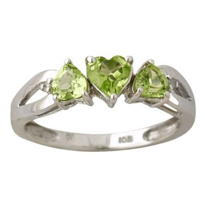 10kt. Heart Shape Peridot and Diamond Ring in White Gold