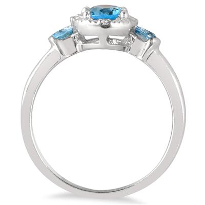 1 Carat Blue Topaz and Diamond Ring in .925 Sterling Silver