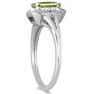1.20 Carat Emerald Cut Peridot and Diamond Ring in .925 Sterling Silver