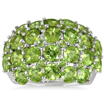 7 Carat Peridot Estate Ring in .925 Sterling Silver