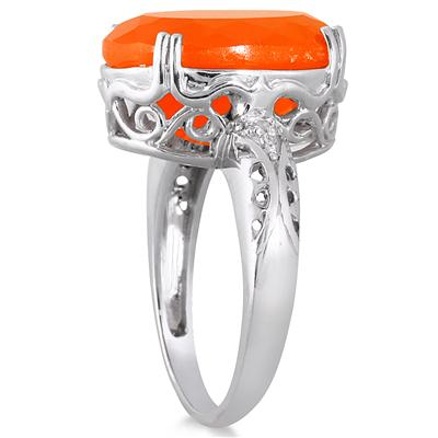 4.50 Carat Oval Carnelian and Diamond Ring in .925 Sterling Silver
