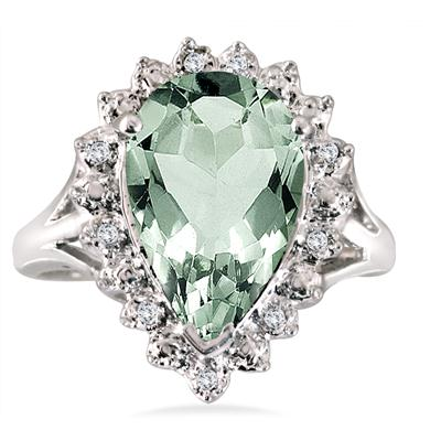 4.00 Carat Pear Shape Green Amethyst and Diamond Ring in .925 Sterling Silver