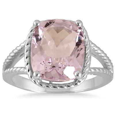 4.95 Carat Cushion Cut Amethyst Ring in .925 Sterling Silver