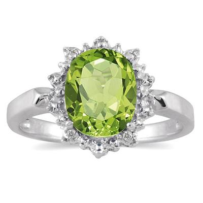 2.50 Carat August Peridot Birthstone and Diamond Royal Ring in .925 Sterling Silver