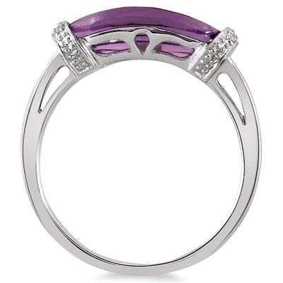 2.50 Carat Amethyst and Diamond Ring in 10K White Gold