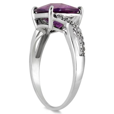 10MM Cushion Cut Amethyst and Diamond Ring in .925 Sterling Silver